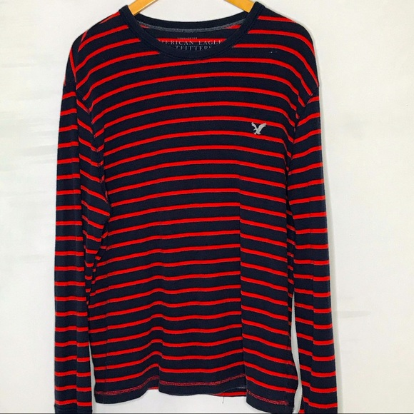 American Eagle Outfitters red blue stripe long sleeve tshirt XL